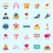 Icons set about Wedding with love, marriage, video camera, balloons, wedding bells and love birds
