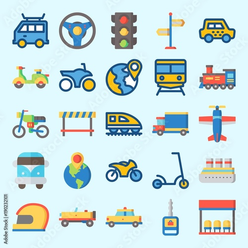 Garden Poster Cartoon cars Icons set about Transportation with destination, traffic light, bus stop, road block, car and plane