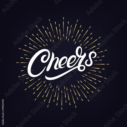 Photo Cheers hand written lettering
