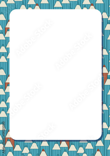 Blank white frame on background with set of cute cartoon pencils ...