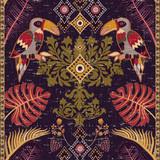 Kolorowy pionowy wzór tropikalny. Tło z roślin i ptaków. Tapeta kwiatowa, styl tekstury - 190237134