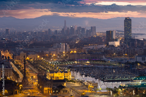 In de dag Barcelona Panoramic view of Port Vell and La Barceloneta. Barcelona, Spain