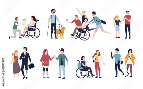 Valokuva  Collection of disabled people with their romantic partners and friends