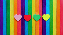 Four Hearts In Multiple Colors...