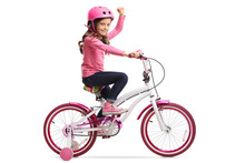 Little Girl With A Bicycle Gesturing With Her Hand