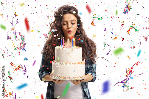 Prime Teenage Girl Blowing Candles On A Birthday Cake With Confetti Birthday Cards Printable Opercafe Filternl