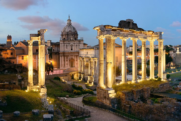 Fototapeta Rzym Rome Forum night