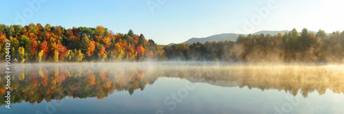 Poster Pool Lake Autumn Foliage fog