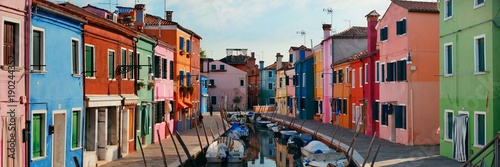 Colorful Burano canal panorama view Wallpaper Mural