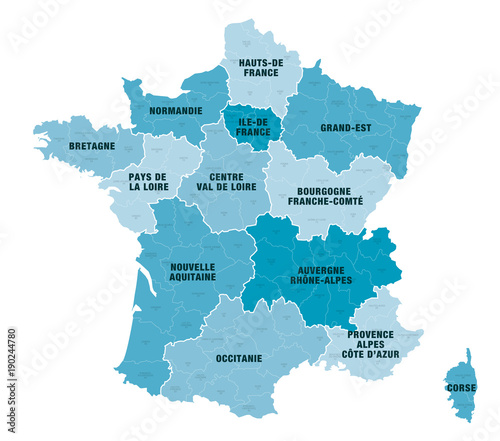 carte de département de france Carte Régions + Départements de France 1 2018   Buy this stock
