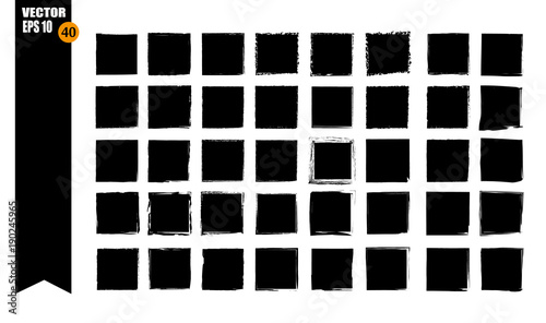 Fotografía  A set of frames, black squares, textural lines, also brushes.
