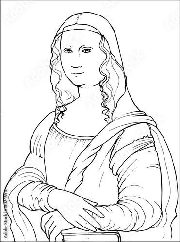 Cuadros en Lienzo Mona Lisa by famous Leonardo Da Vinci coloring vector illustration