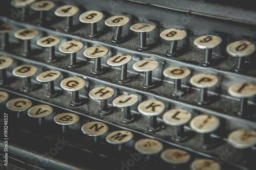 Close up keyboard font of antique typewriter keys  - Buy