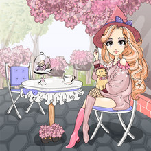 Cute Girl Sitting In Paris Cafe On The Terrace With Purple Lilac, Romantic Style Fashion Teen Girl With Little Dog, Young Woman Vector Illustration