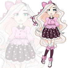 Cute Fashion Girl Cartoon Character In Pink, Hand Drawn Vector Illustration