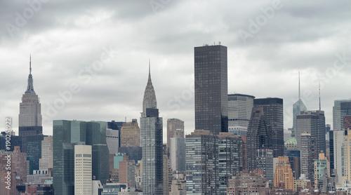 Plakat Nowy Jork, USA. Zadziwiający powietrzny Manhattan widok przy zmierzchem