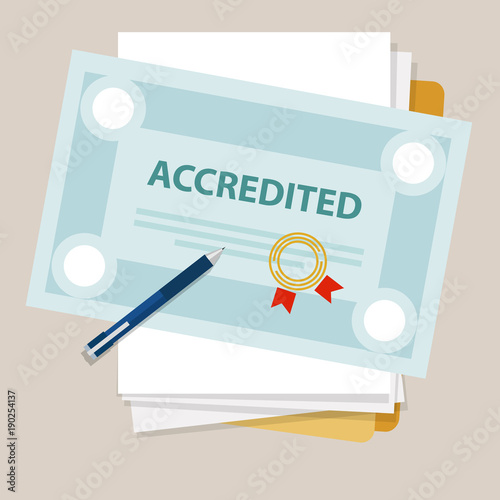 Photo accredited authorized organization business certificate paper with stamp