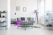 Living room with industrial table