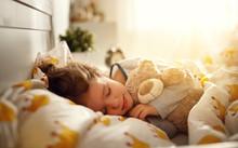 Child  Girl Sleeps In Her Bed ...