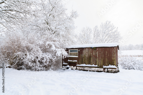 Wooden abandoned house in a deep winter