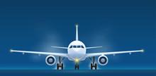 Front View Of Landing Aircraft. Passenger Air Vehicle Transport