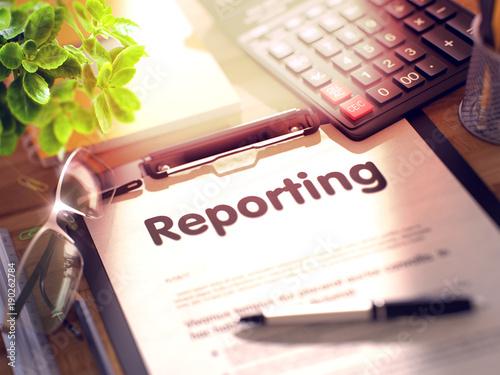 Fotografia Clipboard with Reporting Concept. 3d