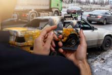 Car Crash Accident Damaged Wit...
