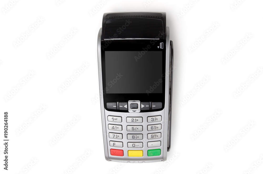Fototapeta payment terminal isolated on white background