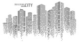 Fototapeta City - Abstract City vector, transparent city landscape, Dots Building in the night City