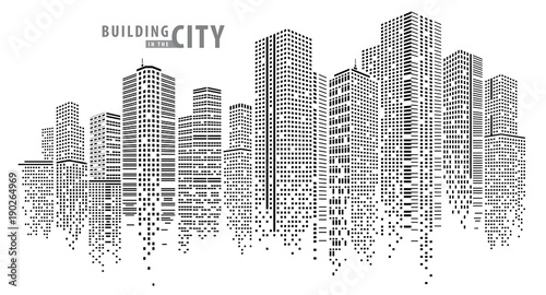 Abstract City vector, transparent city landscape, Dots Building in the night City - fototapety na wymiar