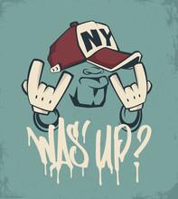 Cool Man In Cap, Hip Hop Face ...