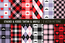 Valentine's Day Hipster Style Tartan And Argyle Vector Patterns In Pastel Violet, Pink, Black And Red Hearts, Lips And Mustaches. Kisses & Staches Playful Backgrounds. Pattern Tile Swatches Included