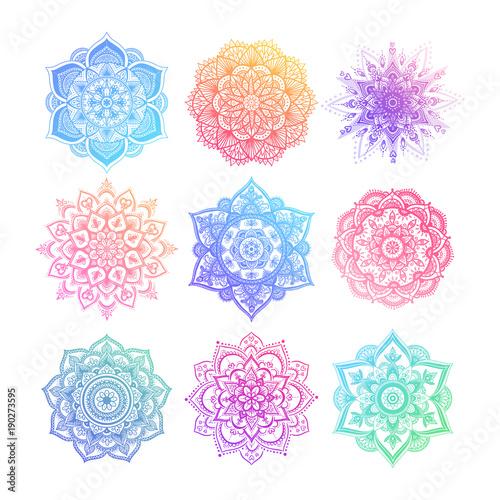 Set of round gradient mandala on white isolated background Canvas Print