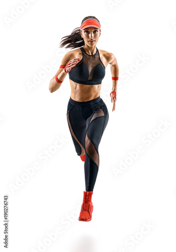 Cuadros en Lienzo Woman runner in silhouette isolated on white background