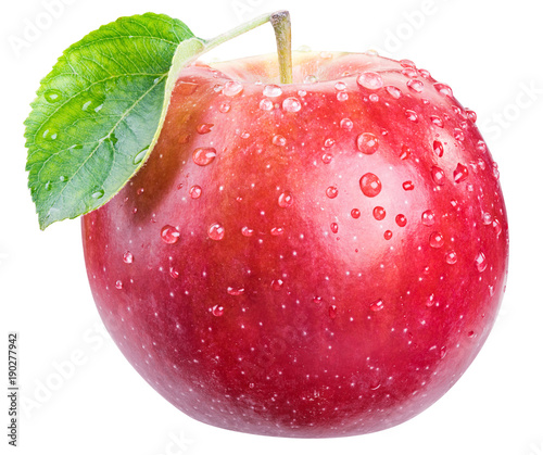 Fotografie, Tablou Ripe red apple with water drops.