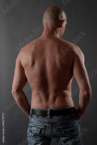 Fotografie, Obraz  Homme en jean, dos nu