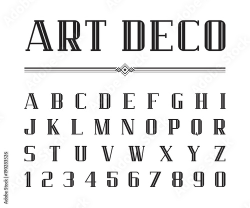Vector of Art Deco font and alphabet, Condensed letters set