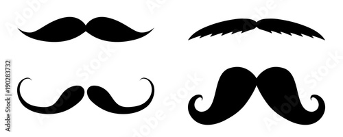 Photo Cartoon moustaches - set of elements for photobooth or barber shop