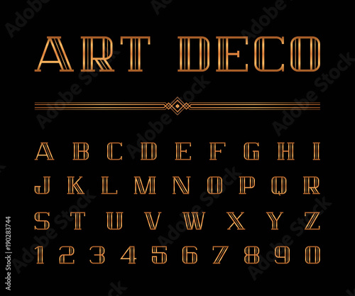 Vector Of Art Deco Font And Alphabet Gold Letters Set The Great