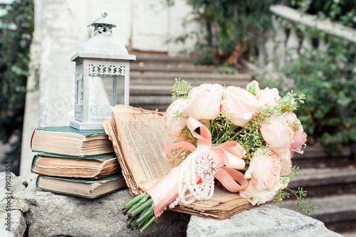 Vintage wedding. Bridal bouquet of roses in pastel colors. Wedding ...