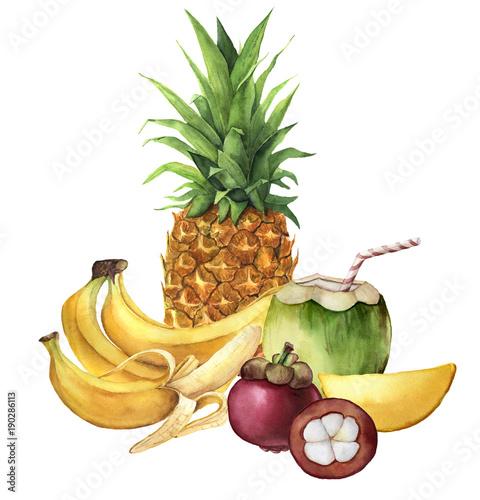 akwarela-tropikalnych-owocow-i-kokosowego-napoju-ananas-kokos-banany-mango-recznie-malowane-owoce-tropikalne-na-bialym