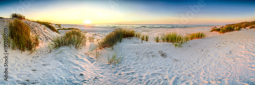 Poster Mer coucher du soleil Coast dunes beach sea, panorama