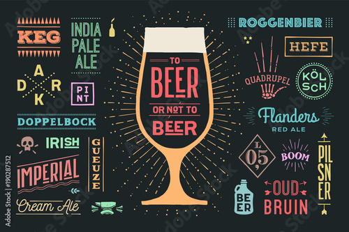 Plakaty do baru - pubu poster-or-banner-with-text-to-beer-or-not-to-beer-and-names-types-of-beer-colorful-graphic-design-for-print-web-or-advertising-poster-for-bar-pub-restaurant-beer-theme-vector-illustration
