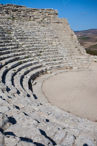 Valokuva Ancient theatre seats in Segesta, Sicily.