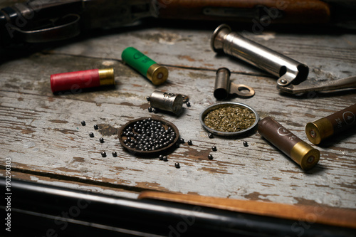 Shotgun, hunting cartridges with gunpowder Fototapete