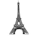 Fototapeta Fototapety z wieżą Eiffla - Vector sketch black Eifel Tower hand drawn landmark symbol of Paris, France. Great for french invitations, greeting cards, postcards, gifts.