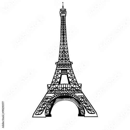 Fotografia  Vector sketch black Eifel Tower hand drawn landmark symbol of Paris, France