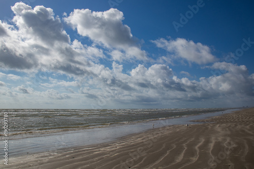 Fotografie, Obraz  Sunny day on the beach with white clouds in the sky