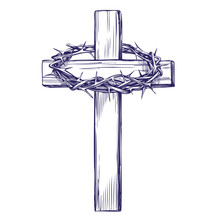 Crown Of Thorns, Wooden Cross....