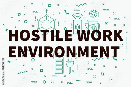 Fotografie, Obraz  Conceptual business illustration with the words hostile work environment